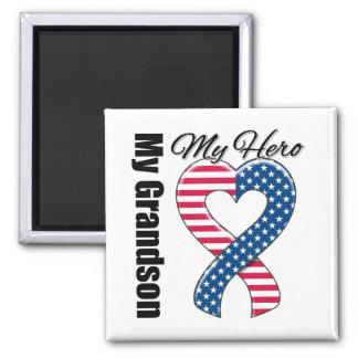 My Grandson My Hero Patriotic USA Ribbon Refrigerator Magnet