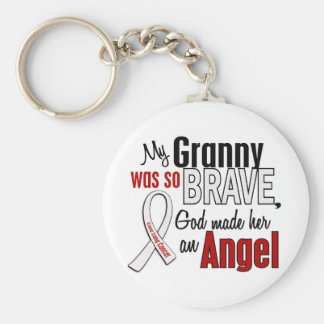 My Granny Is An Angel Lung Cancer Basic Round Button Key Ring