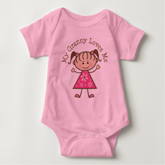 My Granny Loves Me Stick Figure Baby Bodysuit