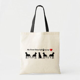 My Great Dane Dog left Footprints on my Heart Tote Bag