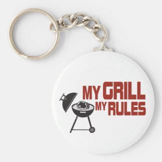 My Grill My Rules Basic Round Button Key Ring