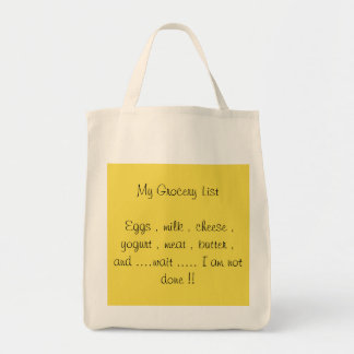 My grocery list tote bag