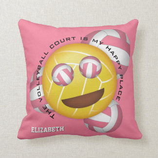 my happy place smiley volleyball emoji cushion