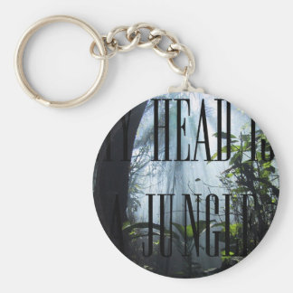 My head are a jungle basic round button key ring
