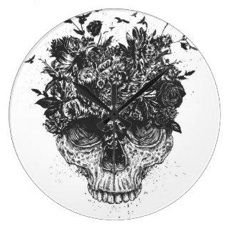 My head is a jungle (blackandwhite) wall clock