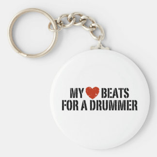 My Heart Beats For a Drummer Basic Round Button Key Ring