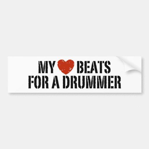 My Heart Beats For a Drummer Bumper Sticker