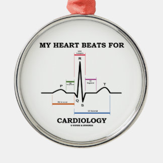 My Heart Beats For Cardiology (ECG / EKG) Silver-Colored Round Decoration