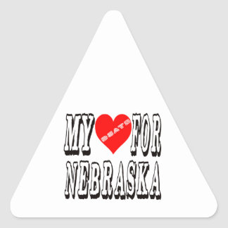 My Heart Beats For NEBRASKA Triangle Sticker