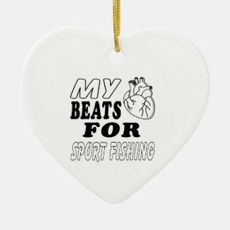 My Heart Beats For Sport Fishing. Christmas Ornament