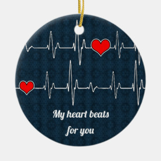My heart beats for you and ECG Christmas Ornament