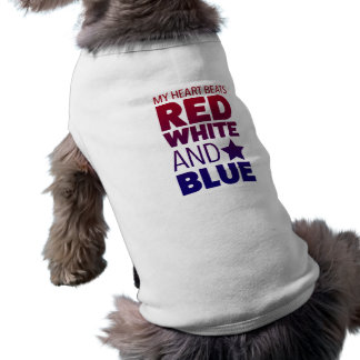My Heart Beats Red, White and Blue Sleeveless Dog Shirt