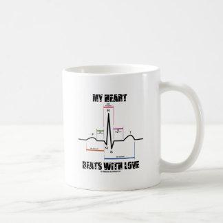 My Heart Beats With Love (Electrocardiogram) Basic White Mug