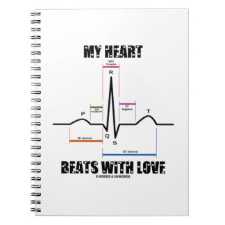 My Heart Beats With Love Electrocardiogram ECG Spiral Note Books