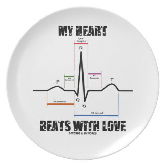 My Heart Beats With Love (Electrocardiogram ECG) Party Plate