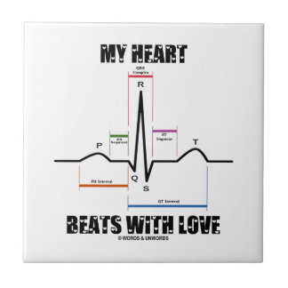 My Heart Beats With Love (Electrocardiogram ECG) Tiles