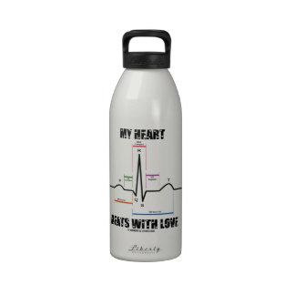My Heart Beats With Love (Electrocardiogram ECG) Reusable Water Bottles