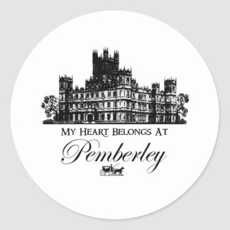My Heart Belongs At Pemberley Classic Round Sticker