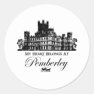 My Heart Belongs At Pemberley Round Sticker