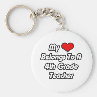 My Heart Belongs To A 4th Grade Teacher Key Chain