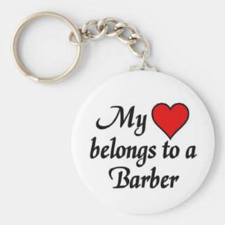 My heart belongs to a Barber Basic Round Button Key Ring