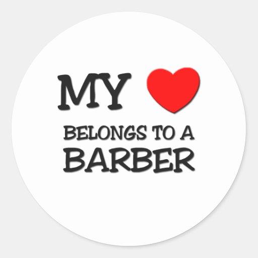 My Heart Belongs To A BARBER Sticker