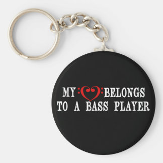 My Heart Belongs To A Bass Player Basic Round Button Key Ring