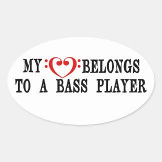 My Heart Belongs To A Bass Player Oval Sticker