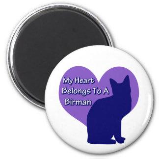 My Heart Belongs to a Birman 6 Cm Round Magnet