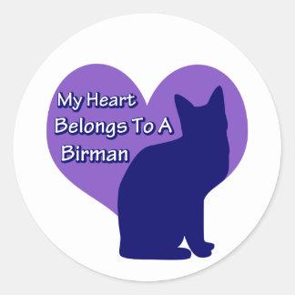 My Heart Belongs to a Birman Round Sticker