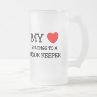 My Heart Belongs To A BOOK KEEPER Frosted Glass Mug