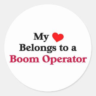 My heart belongs to a Boom Operator Round Sticker