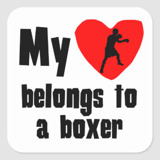 My Heart Belongs To A Boxer Square Stickers