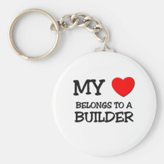 My Heart Belongs To A BUILDER Basic Round Button Key Ring