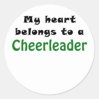 My Heart Belongs to a Cheerleader Round Sticker