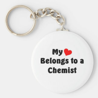 My heart belongs to a Chemist Basic Round Button Key Ring