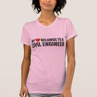 My Heart Belongs To A Civil Engineer T Shirts