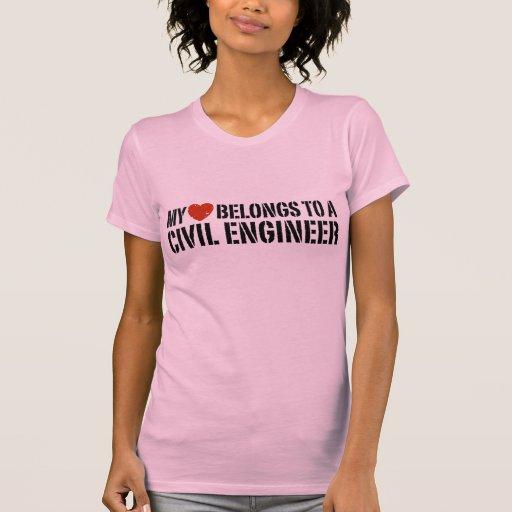 My Heart Belongs To A Civil Engineer Tee Shirt