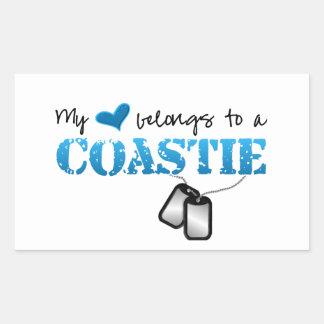 My heart belongs to a Coastie Rectangular Sticker