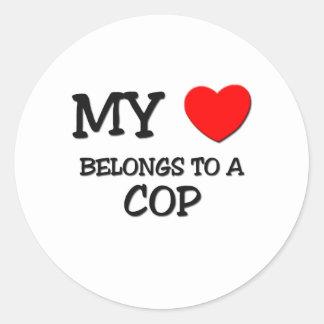 My Heart Belongs To A COP Round Sticker