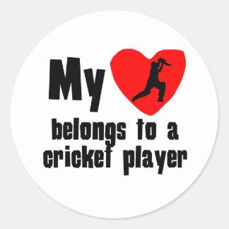 My Heart Belongs To A Cricket Player Sticker