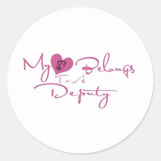 My Heart Belongs to a Deputy Round Stickers