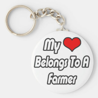 My Heart Belongs To A Farmer Basic Round Button Key Ring