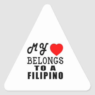 My Heart Belongs To A Filipino Triangle Sticker