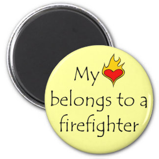 My Heart Belongs To A Firefighter 6 Cm Round Magnet