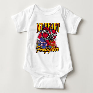 My Heart belongs to a Firefighter Baby Bodysuit