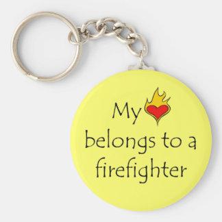 My Heart Belongs To A Firefighter Key Ring