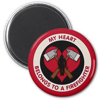 My Heart Belongs To A Firefighter Magnet