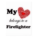 My Heart Belongs To A Firefighter Postcard
