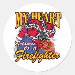 My Heart belongs to a Firefighter Round Sticker